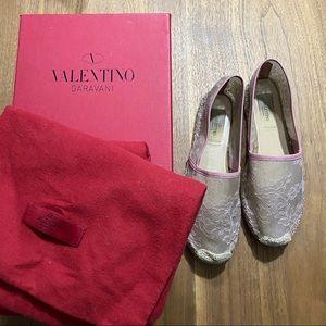 Valentino Pink Macrame Lace Espadrilles Size 7
